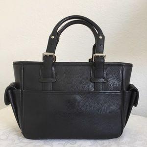 Burberry black side pocket leather tote